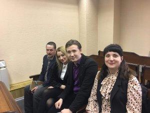 Политические заключённые Василец и Тимонин со своими защитниками Вознюк и Лёшенко